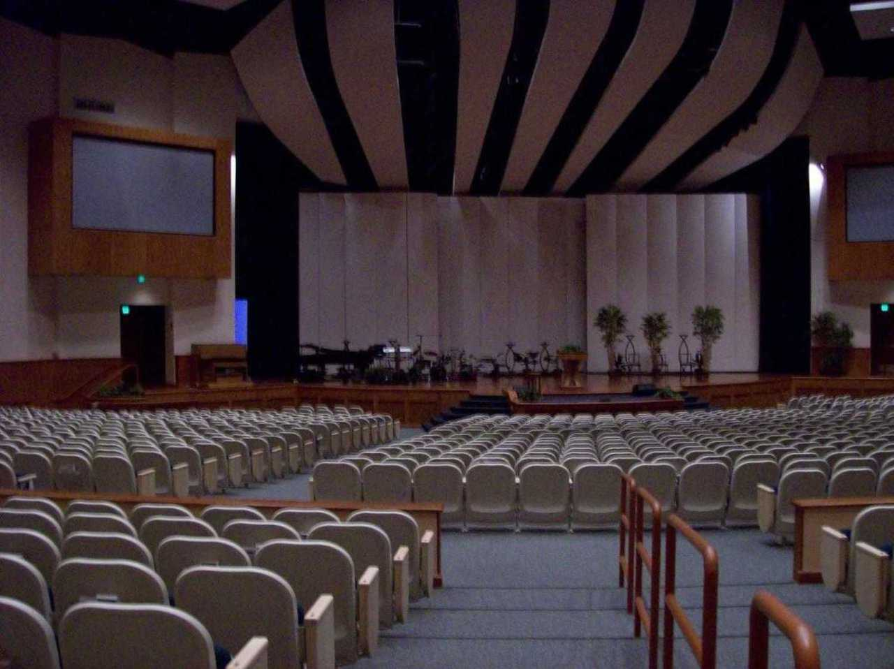 Stage — The dome sanctuary has a large, wooden stage with movable towers and platforms that easily accommodate a 140-member choir.