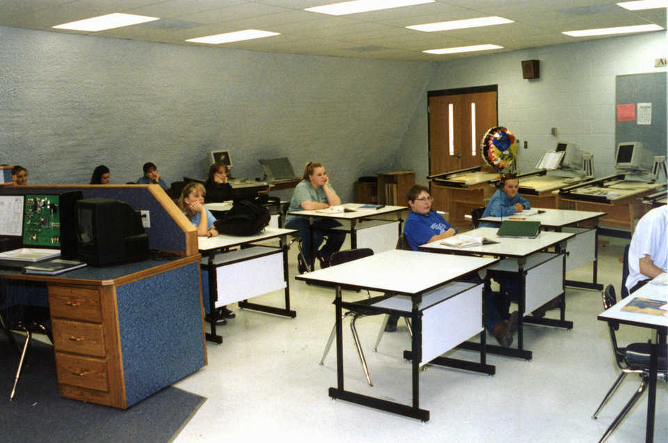 Classroom — Some classrooms provide specialized equipment, such as drafting tables and CAD systems. Others include a chemistry lab, logic circuits, and lasers.