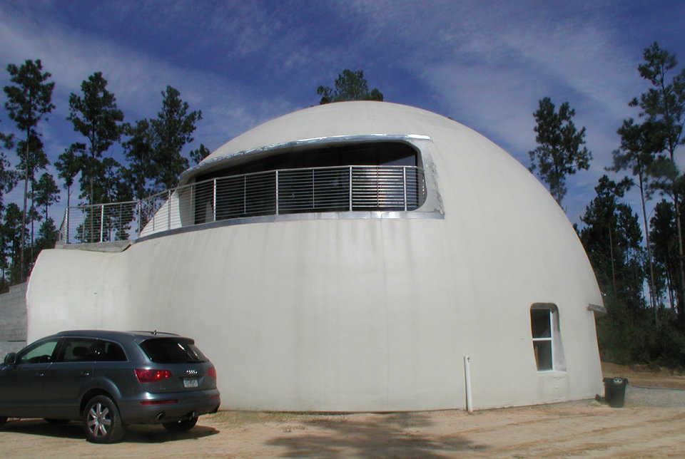 The Simmons' Dream Dome — Their retirement dome has a 50' diameter, a height of 30' and a living area of about 3400 square feet.
