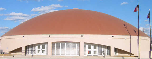 Avalon High School Gym — Designed by Monolithic Architect Rick Crandall and built with a 12' stemwall, Avalon High School's Gym measures 124′ × 25′ with a total height of 37 feet.