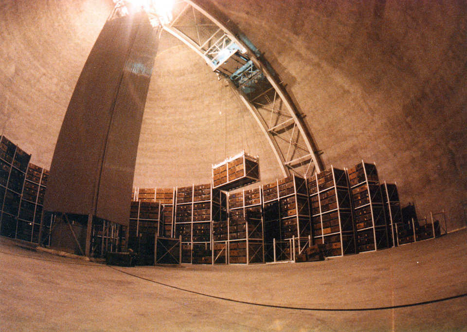 Crane u2014 In the center of each dome sits a 100-foot-tall cooling & Monolithic Domes For Cold Storage | Monolithic Dome Institute