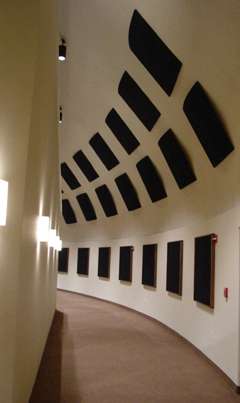 Acoustics — Special panels absorb unwanted echoes.