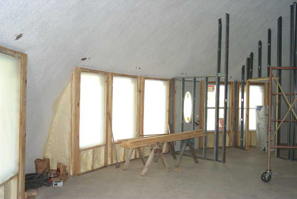 Inset openings — This is dome was designed with inset openings that were framed in after the dome was built.