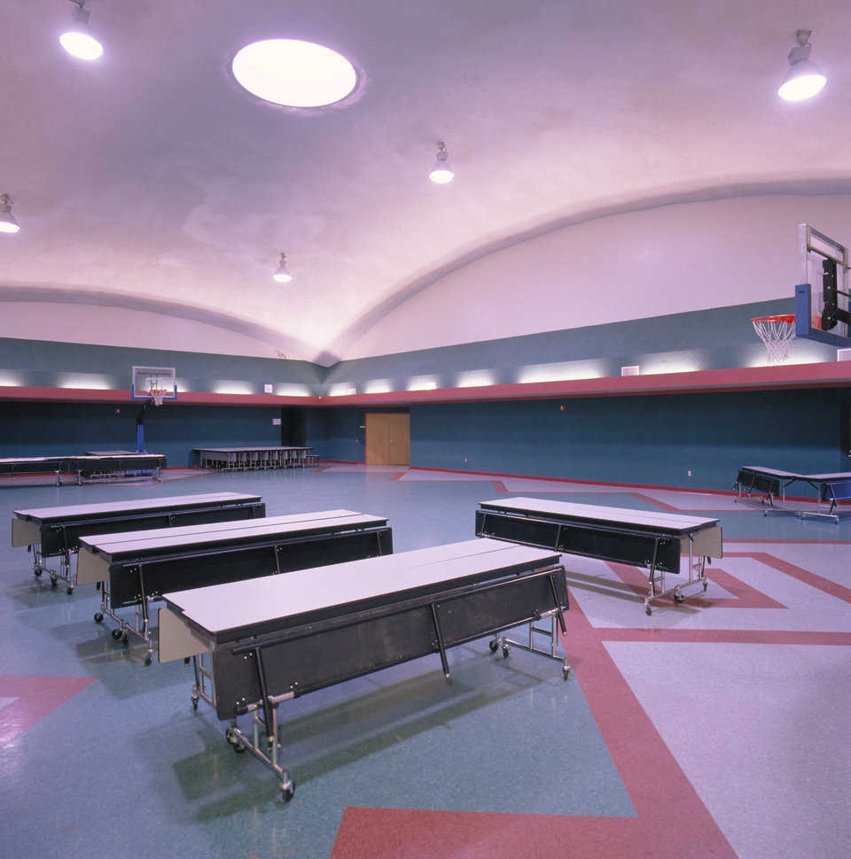 Cafeteria — The cafeteria is part of the multipurpose dome that also includes the gymnasium and an arts/music area.