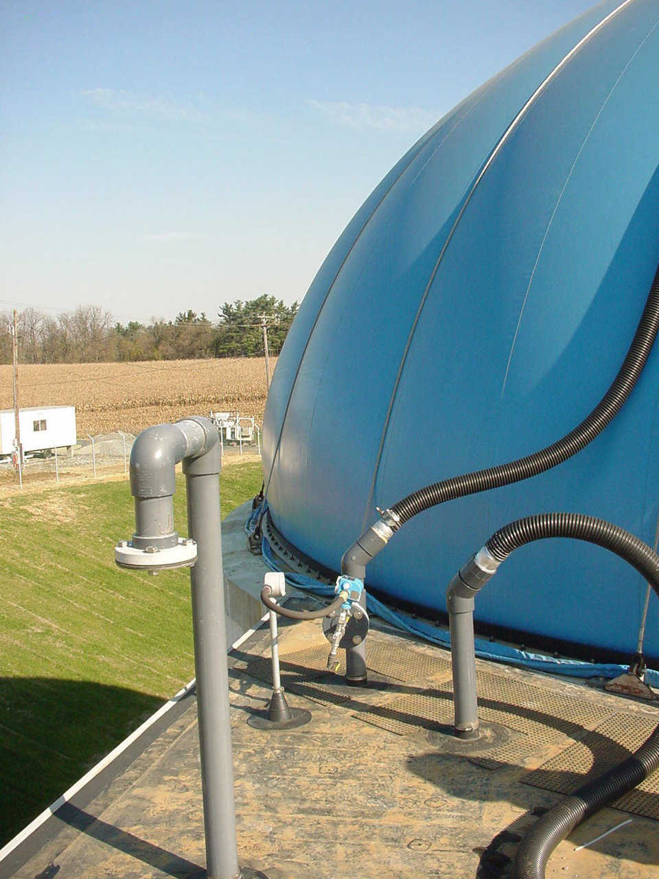 A working Airform — Monolithic Airforms used in waste treatment systems are made of heavy, 31-ounce fabric, according to design specifications so that they fit tightly around the circumference of a waste digestion tank.
