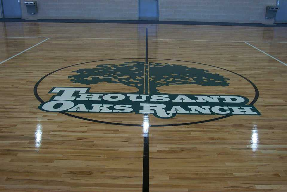 Logo — The full-size basketball court carries the center's logo.