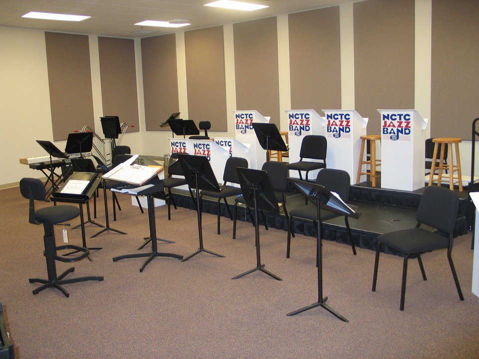 Rehearsal Room — Used for rehearsals of instrumental performances, this room includes Wenger equipment.