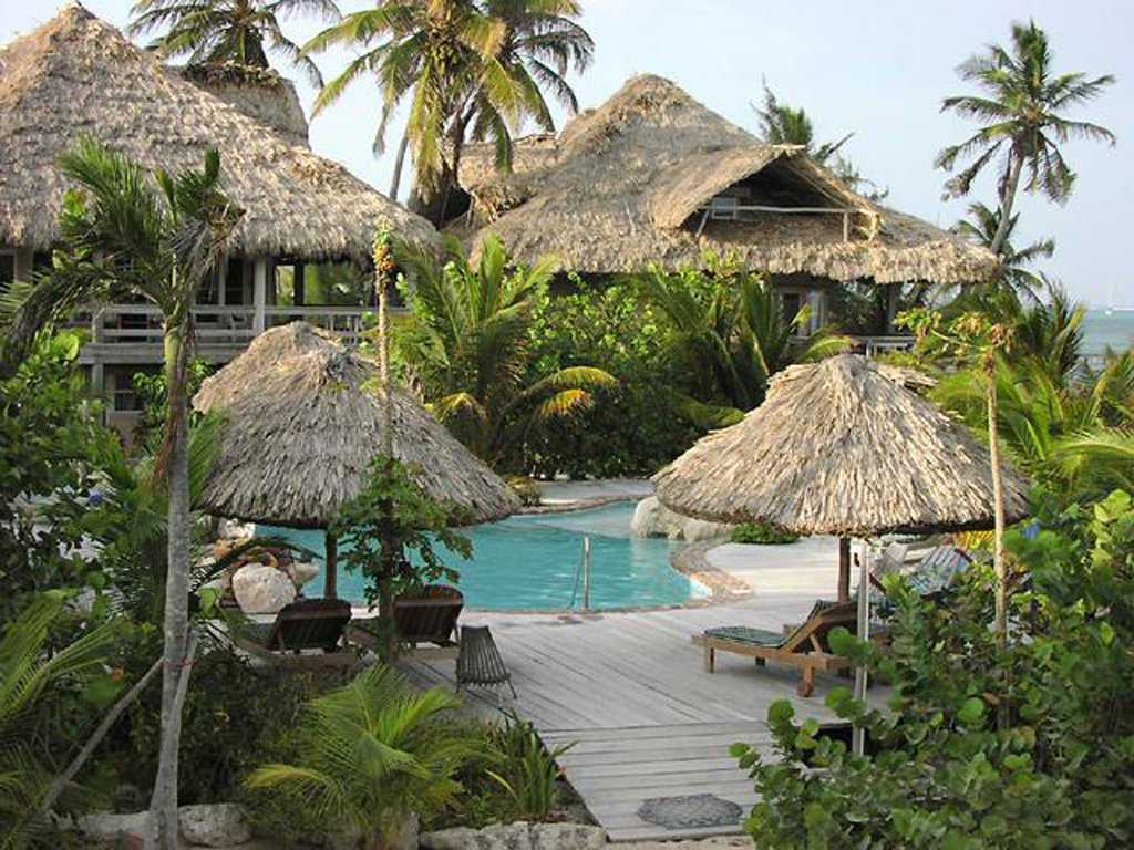 Xanadu Island Resort — Below these thatched roofs lie the Monolithic Domes which provide accomodations for the Xanadu Island Resort.