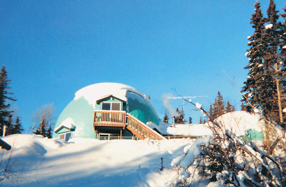 Snyder Residence in Alaska — This dome is located in Soldotna, Alaska, where temperatures regularly dip below 0 degrees.