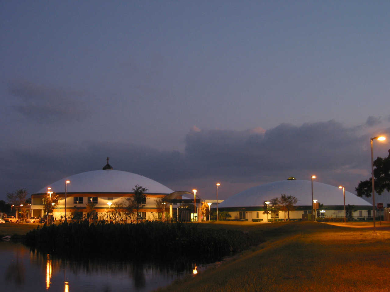 Nightime Glow — Those sparkling structures are the four domes at Bishop Nevins Academy in Sarasota, Florida.