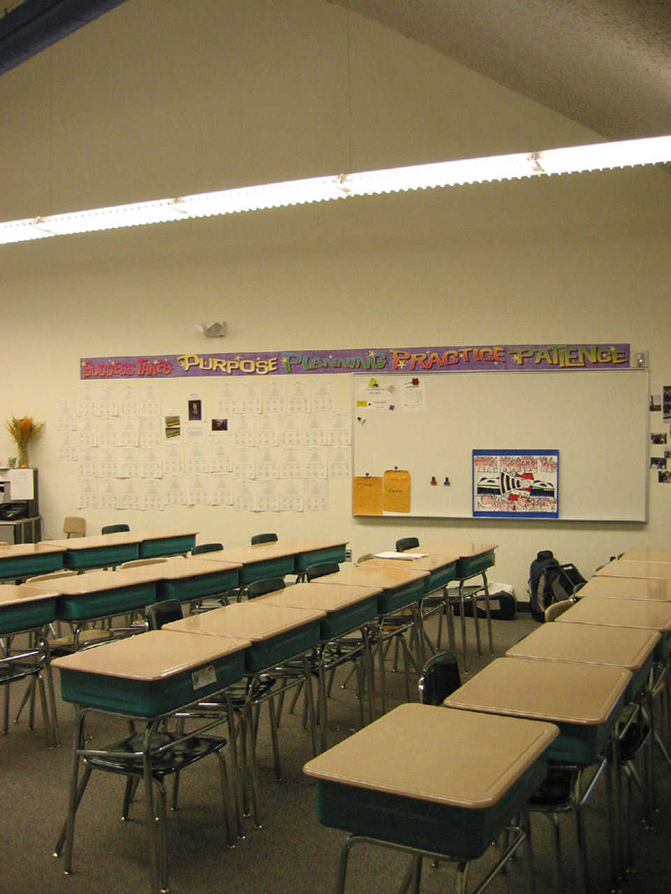 Typical classroom — Overhead lighting secured from the dome shell helps to create a comfortable learning environment.
