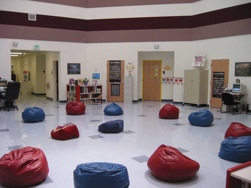 "Beanbag anyone? — Colorful beanbags provide student seating in the commons area of the ""Dreams are Free"" facility."