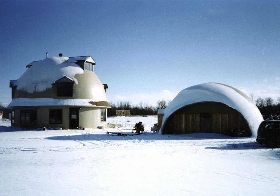 Economical heating — An under-the-floor, hot water system keeps this Monolithic Dome home cozy warm. The hot water comes from a boiler in the basement.