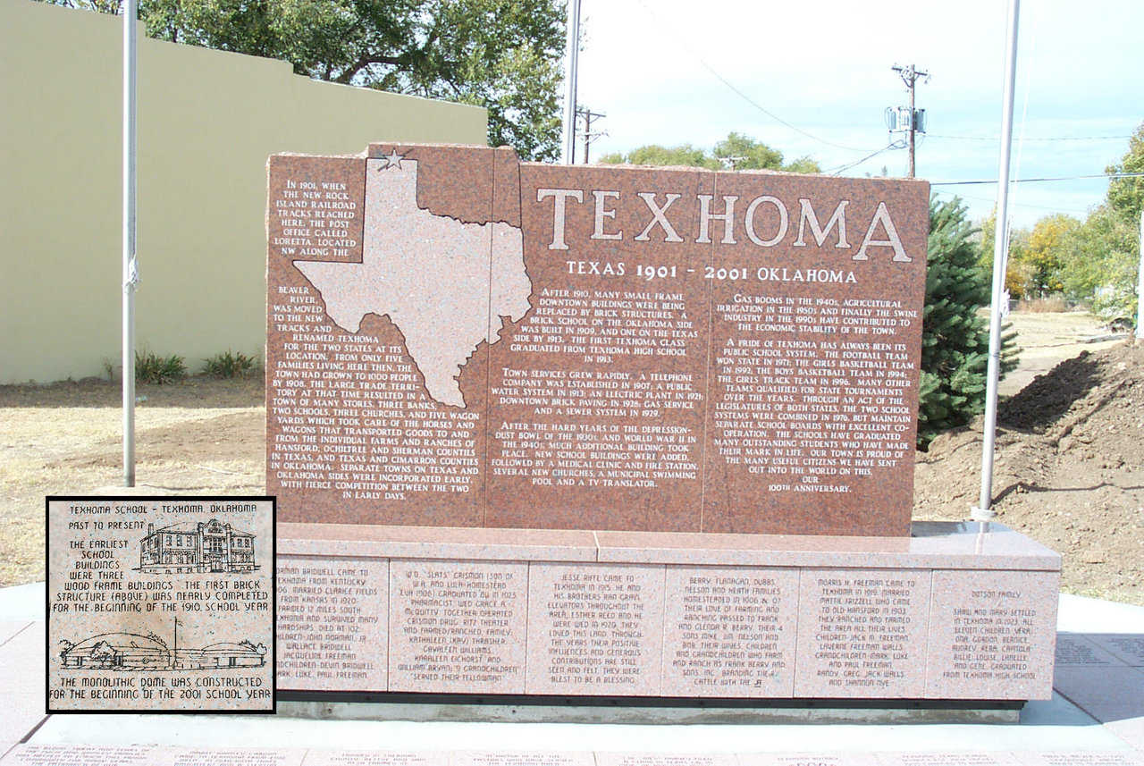"Unique location and history — ""We're so big it takes 2 states to hold us!"" claims Texhoma, a town of just 1300, that straddles the state line between Texas and Oklahoma."