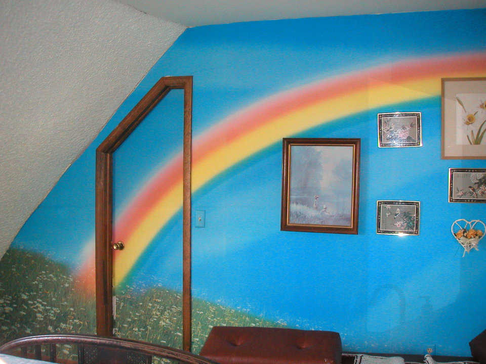 Rainbow — One of Cliffdome's walls included a hand-painted rainbow.