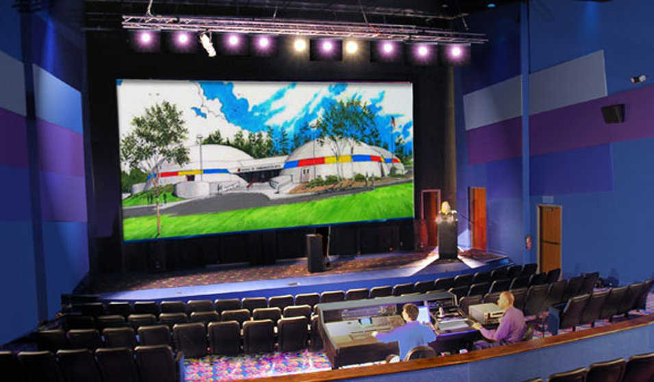 Theater — Monolithic Dome A has a 200-seat, high definition digital theater with surround sound digital mix down.