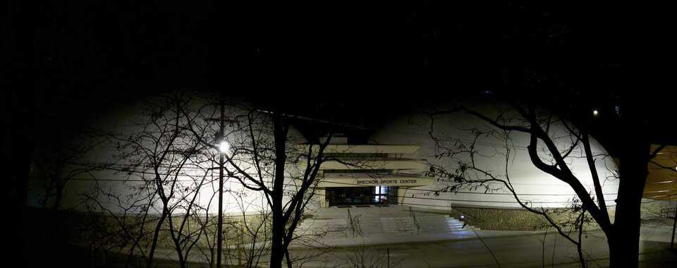 Park U at night — Exterior lighting enhances the beauty of the twin Monolithic Domes.