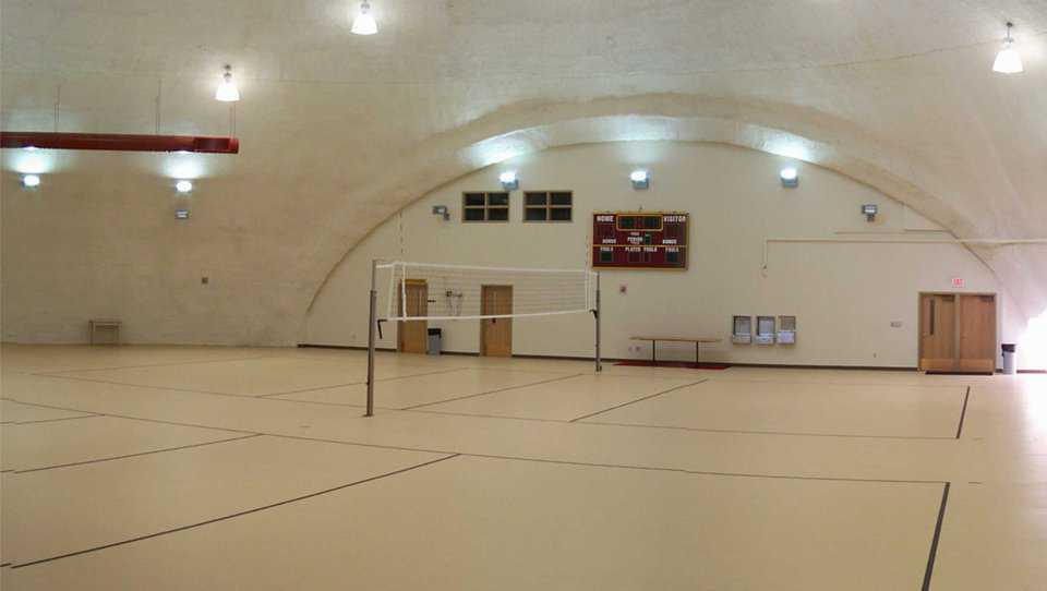 Practice Gym — It has two practice courts.