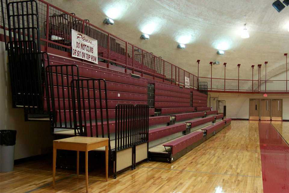 Telescoping bleachers — For maximum use of space, the Performance Gym is designed with telescoping bleachers.