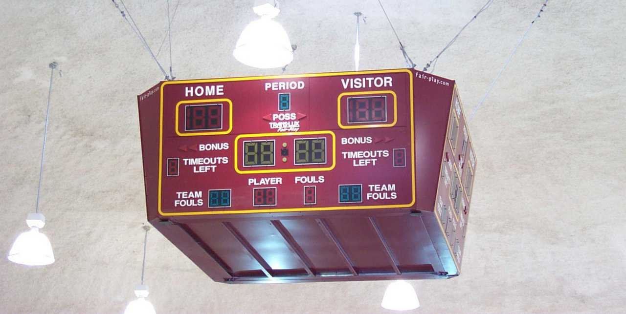 Scoreboard — In the Performance Gym, the scoreboard hangs suspended from the dome's center. It can be easily seen by all spectators, players and coaches.