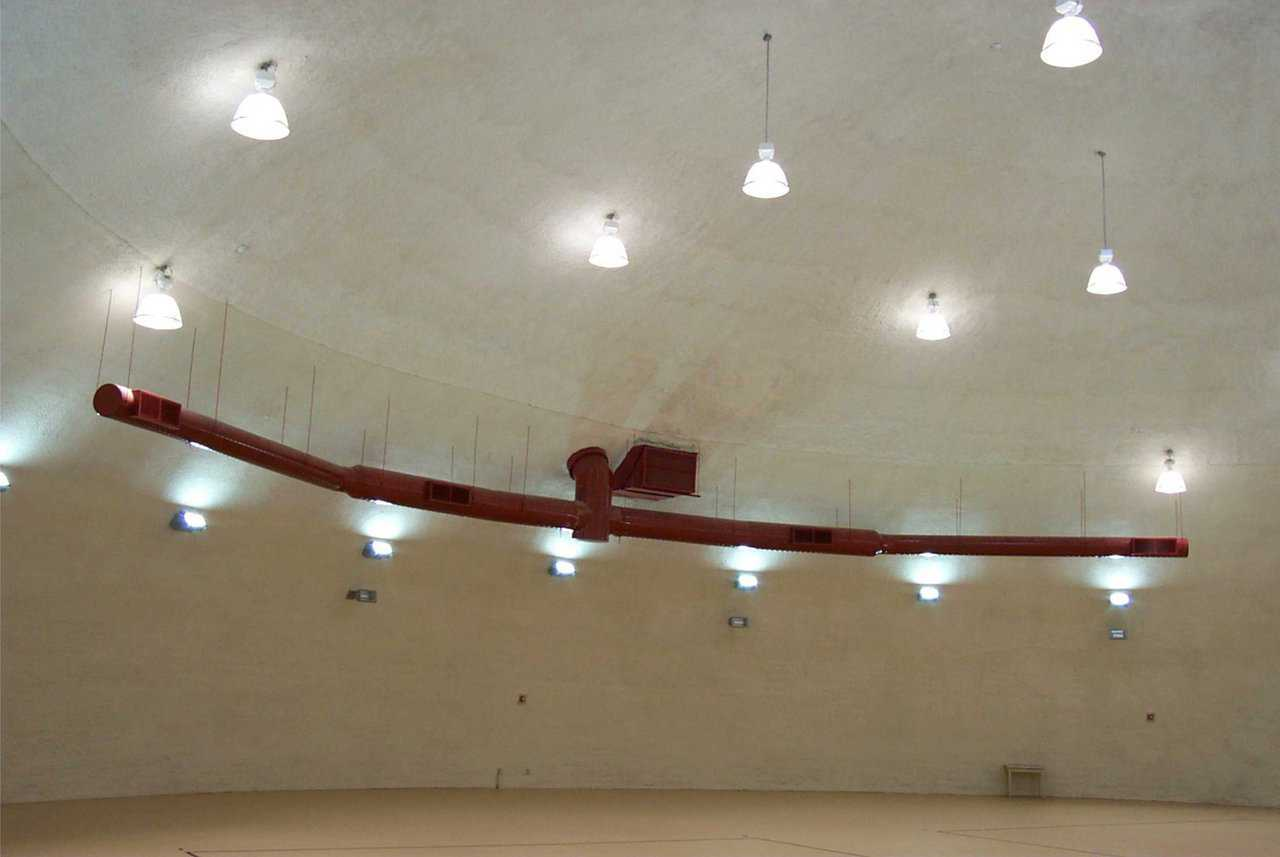 HVAC and acoustics — Heating and ventilation system in the Practice Gym is painted in the school's colors. Dome shell has a coating of acoustical material.