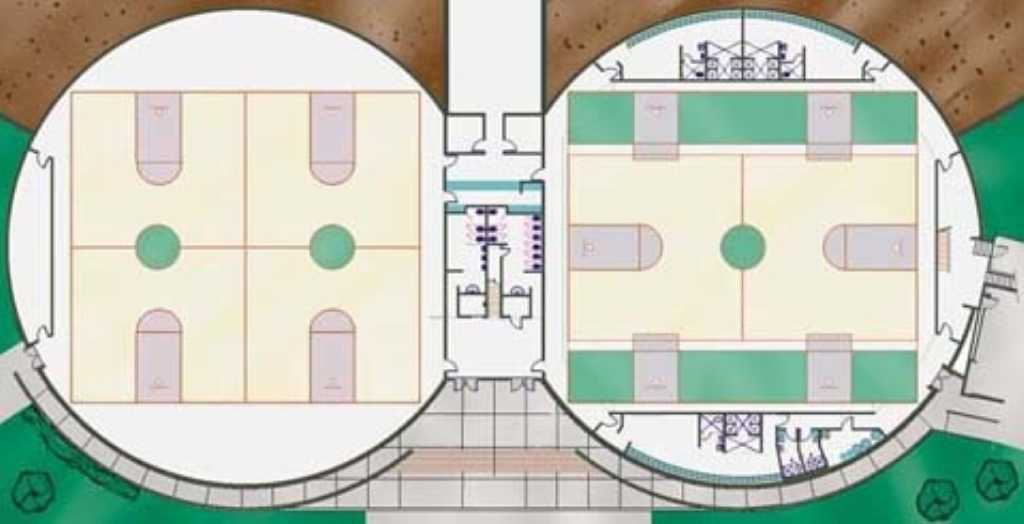 Floor plans — These are Architect Rick Crandall's interior plans for the Practice Gym and Performance Gym.