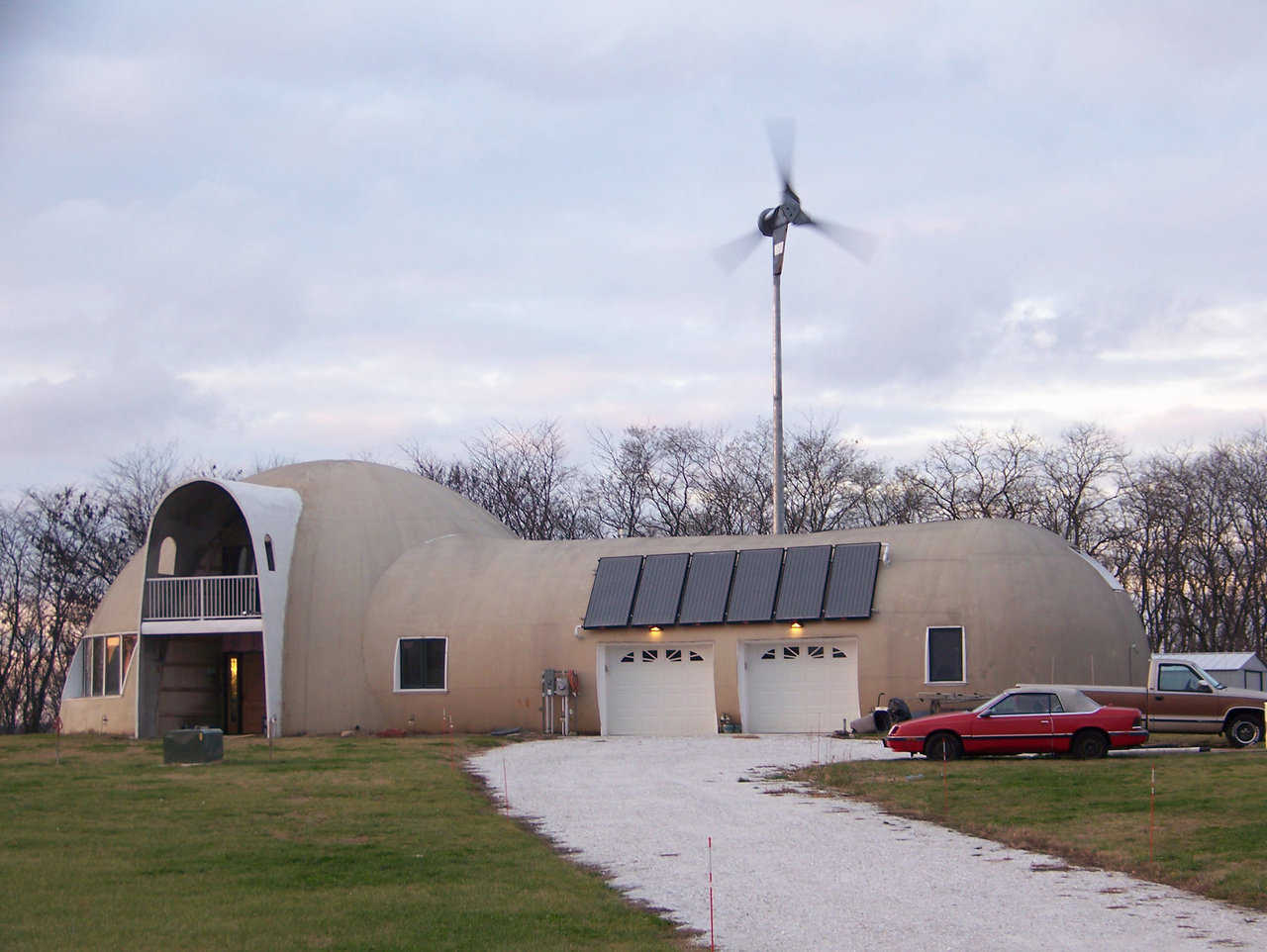 Solar Equipped in Illinois — Kati and Robin Millers' Monolithic Dome home has 6 solar-thermal collectors that collect the sun's heat and convert it into thermal energy. It heats water that circulates through the radiant heating system to heat the home.