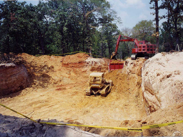 Excavation — Crews excavated for the placement of five interconnected Monolithic Domes for this underground home in Buffalo, Texas.