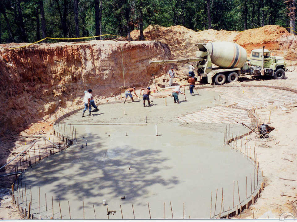 Foundation — When completed, the owner of this underground dome-home will have a living area of 2,729 square feet.
