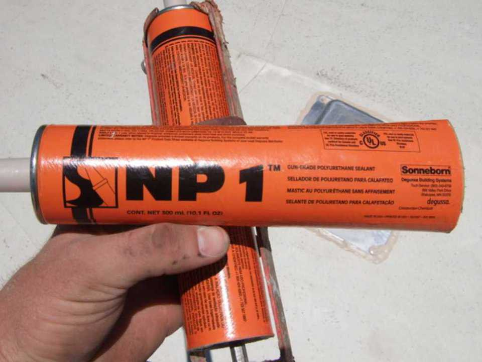 NP 1  — NP1 Single part Urethane caulking used to glue down flange and water proof.
