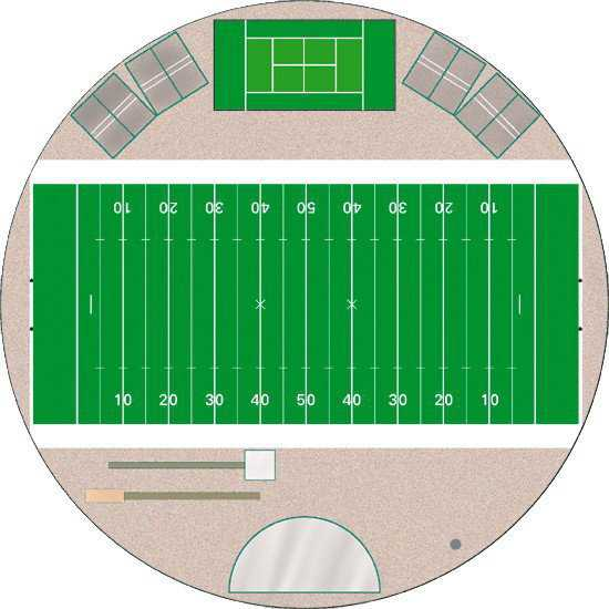 An all-purpose facility		 — A well planned Crenosphere can be used for just about any activity or everything from football practice to indoor golf, badminton, marching band and cheerleader practice, etc.