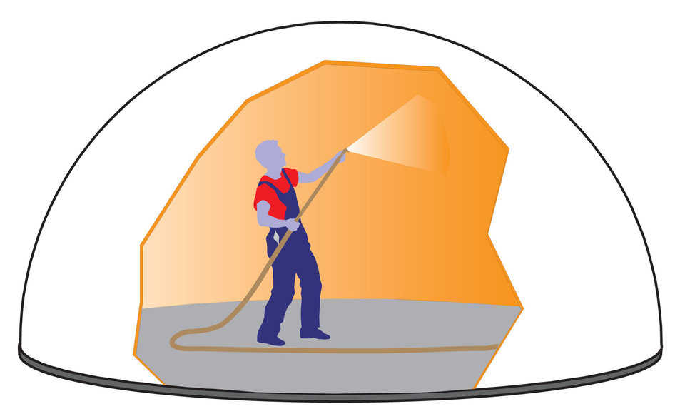 Polyurethane Foam — Polyurethane foam is applied to the interior surface of the Airform. Entrance into the air-structure is made through a double door airlock which keeps the air-pressure inside at a constant level. Approximately three inches of foam is applied. The foam is also the base for attaching the steel reinforcing rebar.