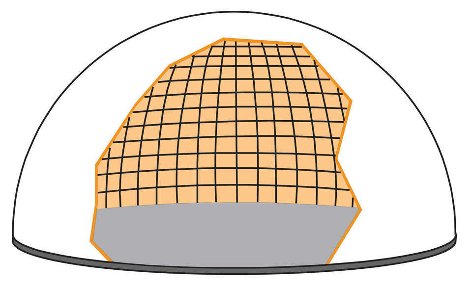 Steel rebar — Steel reinforcing rebar is attached to the foam using a specially engineered layout of hoop (horizontal) and vertical steel rebar. Small domes need small diameter bars with wide spacing. Large domes require larger bars with closer spacing.