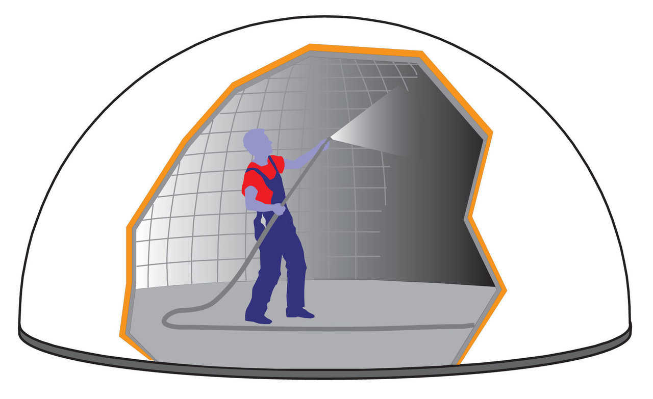 Shotcrete — Shotcrete – a special spray mix of concrete – is applied to the interior surface of the dome. The steel rebar is embedded in the concrete and when about three inches of shotcrete is applied, the Monolithic Dome is finished. The blower fans are shut off after the concrete is set.