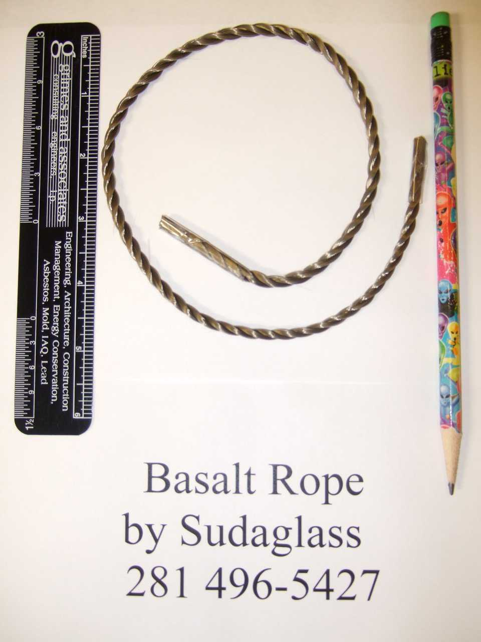 Basalt Rope   After building a few EcoShell Domes with the Basalt Roving we have realized we needed more.  So working with Sudaglass we have come up with this Basalt Rope. It is easier to handle and is just right for the EcoShell Domes. The rope is equal to 3/4 of a 4 mm bar. It comes in 10 kilo (22 lbs) rolls. Two rolls will build a 6 meter (20 ft) diameter EcoShell. This is a great home or storage. Basalt Rope for use in the construction of EcoShell I domes. It is easy to handle and to ship and far easier to use than the roving.