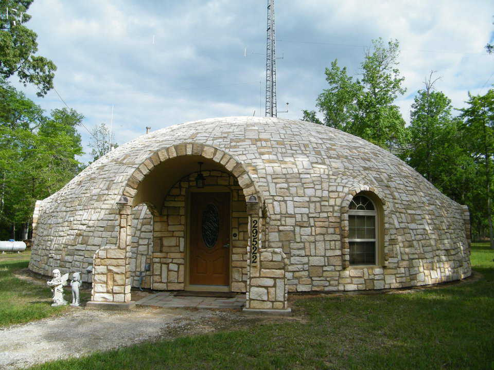 Stoned and beautiful – Karen and Dan Tassell's Monolithic Dome home sits on six acres just outside of Magonolia, Texas.