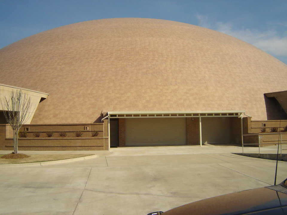 This 280-foot-diameter dome has a floor area equal to 1.4 acres. Note the large entry doors. It's the perfect building for growing food.