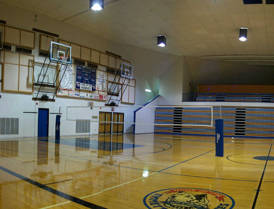 The 180-foot Emmett High School gymnasium in Emmett, Idaho. Its double-wide gym can seat 3,000. It also houses a weight room, a wrestling room, locker rooms, offices, concessions and a small theatre.