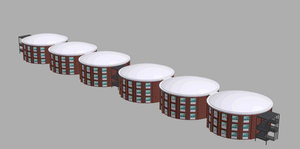 Here these ultra-strong, energy-efficient, cylindrical units are set in a straight line. Obviously, they can be designed as apartments or dormitories.