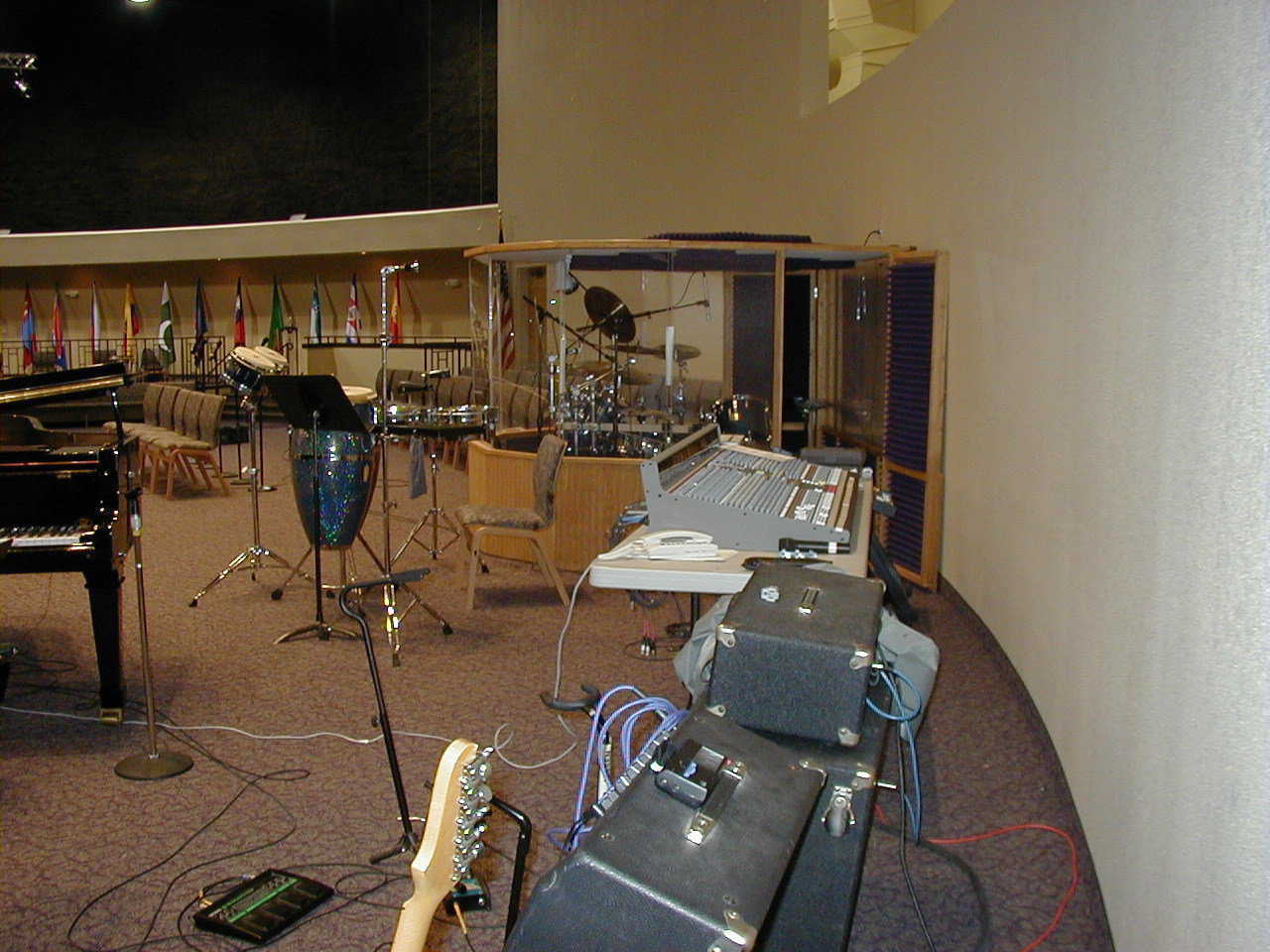 Pictured here is a sound stage set up for an audience, but a similar setup would be perfect for a recording studio.