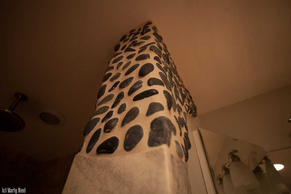 Mexican stones and pebbles embedded into stucco can create attractive designs.