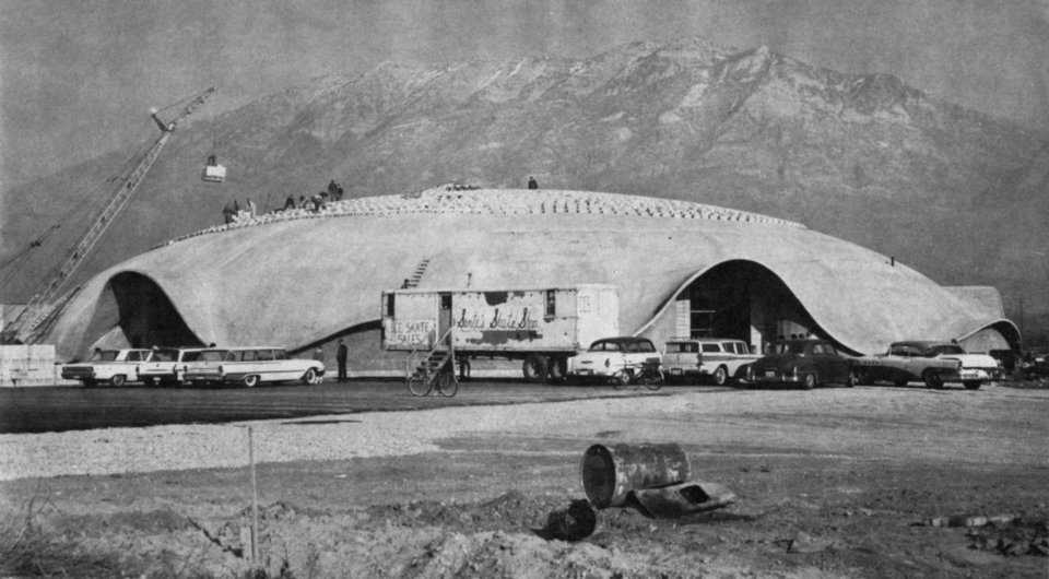 A live load test was performed on this dome in Provo, Utah, using an incredible, 360,000 pounds of concrete block. The test showed no measurable deflection of the dome's surface. This was Dr. Wilson's first dome, an earth-formed, affined transformation of an ellipse, that was 160' x 240' x 40' in size.
