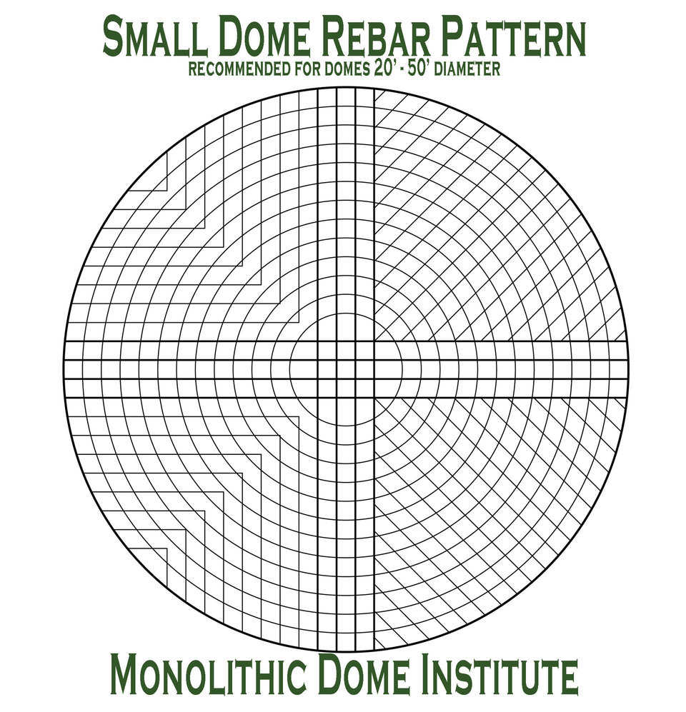 Rebar pattern recommended for small diameter domes (20'-50').   Note: The two variations shown.