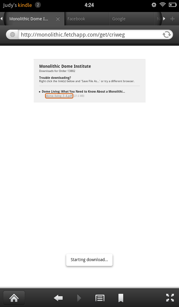 Step 5 – Download the Ebook: Click the link, shown here in an orange box. This will start the download. A small Starting Download box will appear toward the bottom of the screen. That indicates that the ebook is downloading.