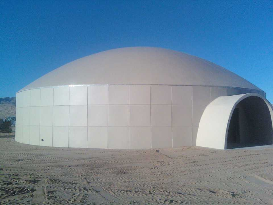 The dome that houses the Headquarters Office is 75′ × 15′ on a 20' integrated stemwall and has a protected entry archway.
