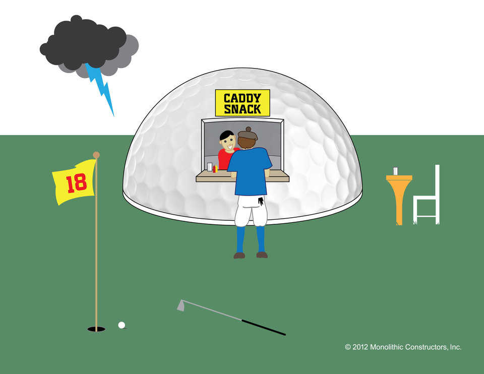 A Monolithic golf concession dome will help keep golfers on course and offer a perfect place to ride out any storm.