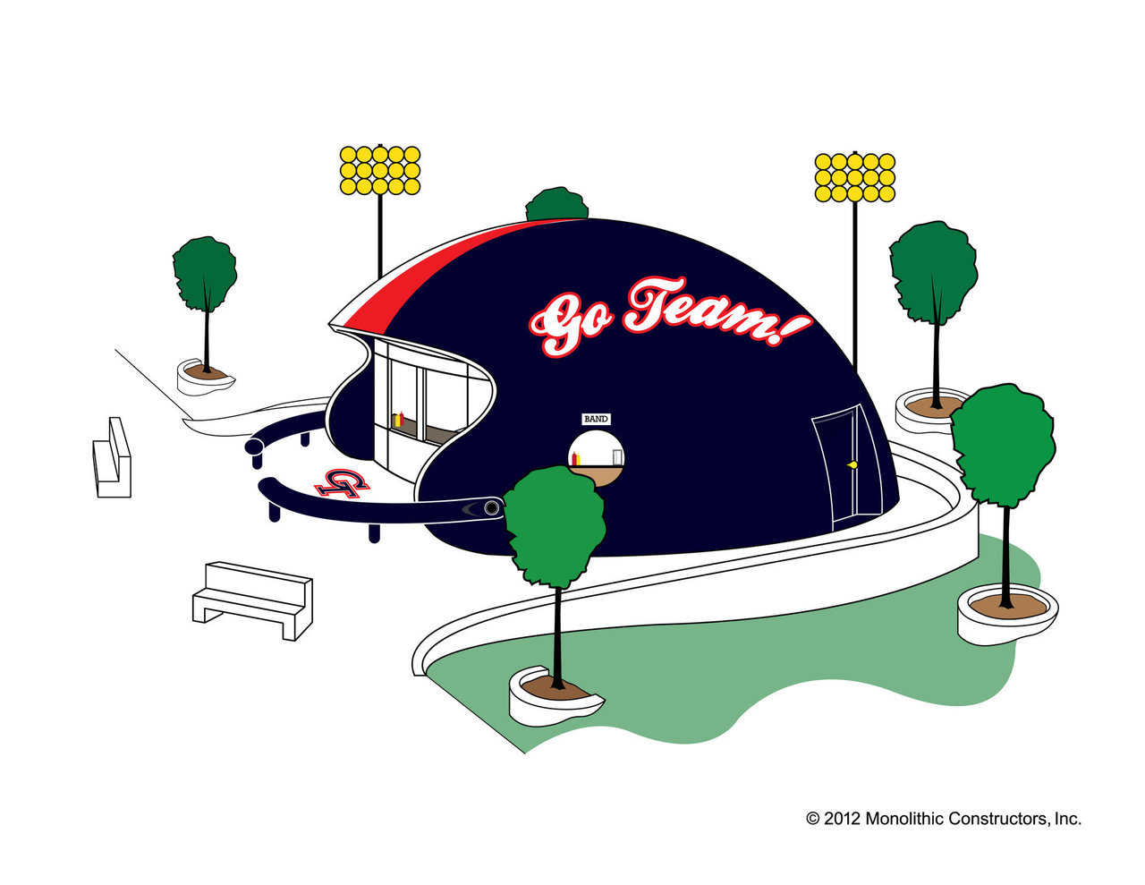 Pump up team pride and spirit with a football helmet-shaped concession dome! These cheerful domes will add even more excitement to games, offer shelter from storms and reduce maintenance cost.