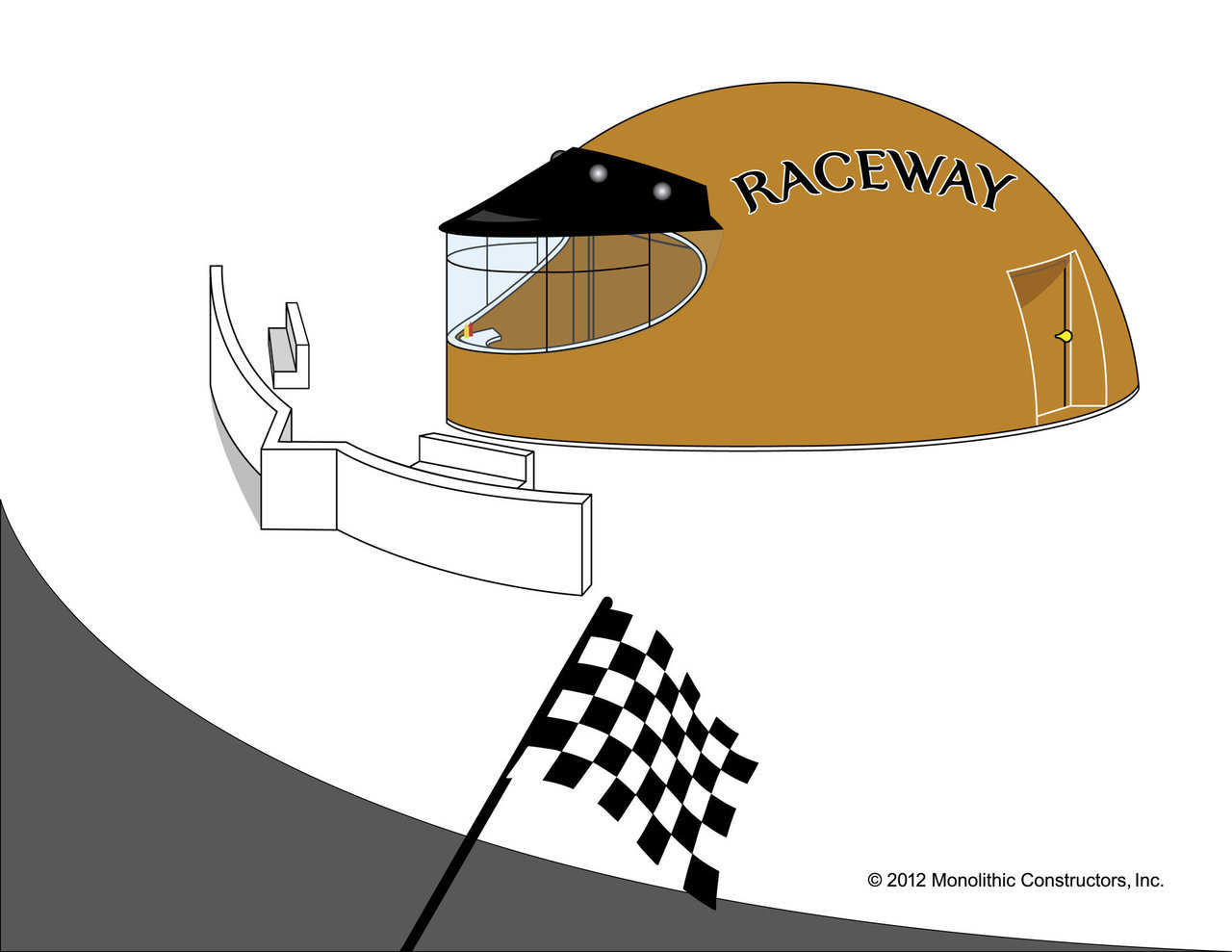 Lead the pack with a Monolithic motorcycle helmet concession dome. Everyone will race over for a snack!