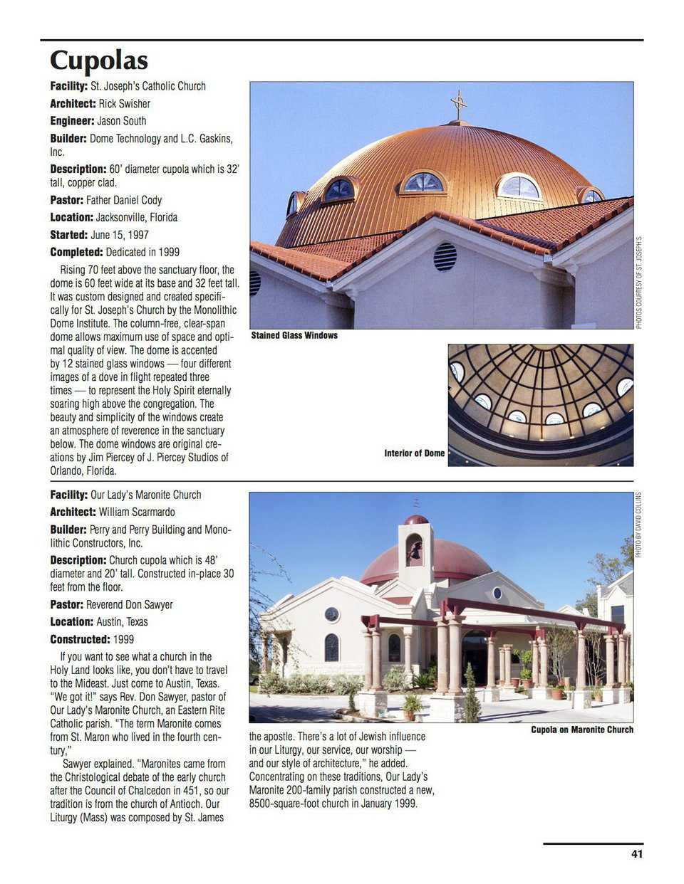 Sample pages – The Cupolas at St. Joseph's Catholic Church, Austin, Texas
