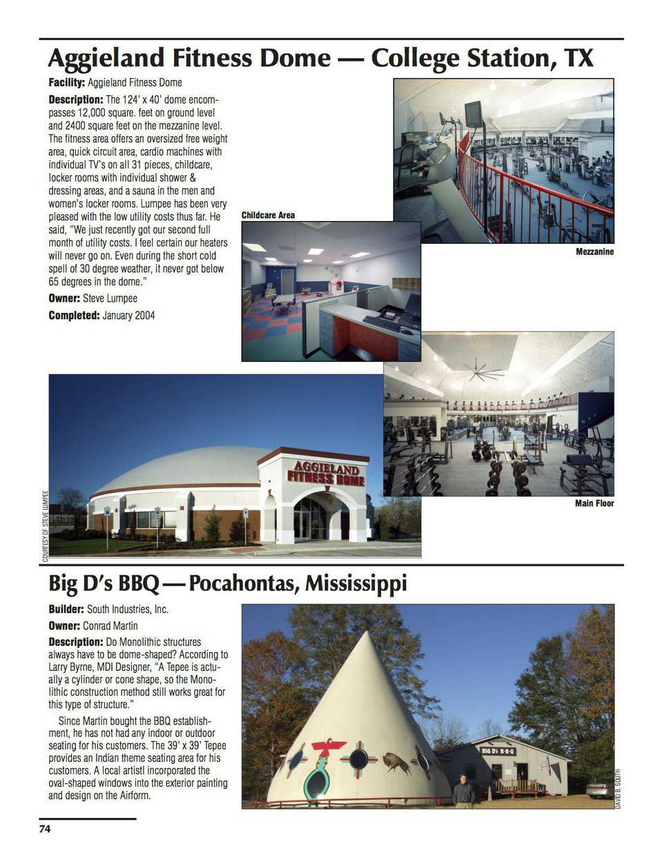 Sample pages – Aggieland Fitness Dome, College Station, Texas